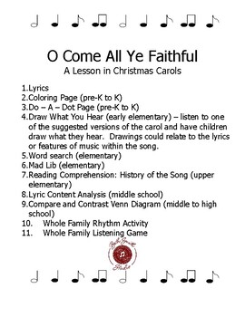 O Come All Ye Faithful Printables - Lessons in Christmas Carols