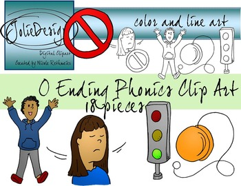 O Ending Phonics Clip Art Set - Color and Line Art 10 pc set