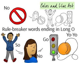O Ending Phonics Clip Art Set - Color and Line Art 10 pc set