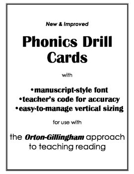 O-G Phonics Drill Cards (vertical) with teacher's code for accuracy