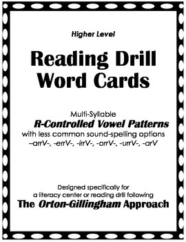 O-G Reading Drill: Memory Game & Word Cards for -vrrv-/-ar