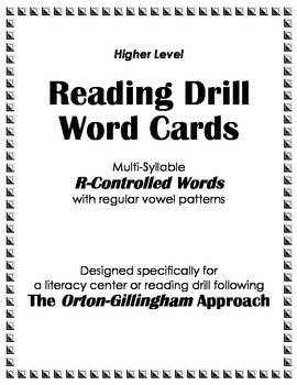 O-G Reading Drill: Multi-Syllable WordCards for Regular R-Control Vowel Patterns