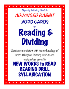 O-G Resource: Advanced RABBIT Word Cards for Reading, Divi