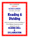 O-G Resource: CUPCAKE Word Cards for Reading, Matching, & Dividing