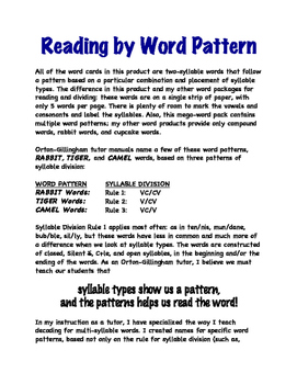 O-G Resource: MEGA-WORD Pack, with MEGA-PATTERNS for Reading & Dividing