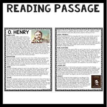 O. Henry Biography- Reading Comprehension Worksheet; Gift of the Magi
