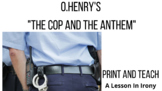 """O.Henry Short Story: """"The Cop and The Anthem"""" Reading Lesson and Activity"""