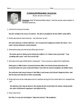 """A Retrieved Reformation"" (O. Henry) Worksheet or Test with Detailed Answer Key"