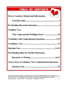 "O. Henry: ""The Count and the Wedding Guest"" Study Guide (18 p., Ans. Key)"