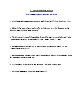O.J. Simpson Criminal and Civil Court Case Question Guide