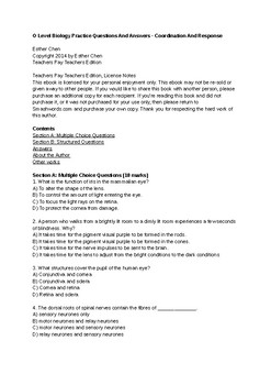 O Level Biology Practice Questions And Answers - Coordination And Response