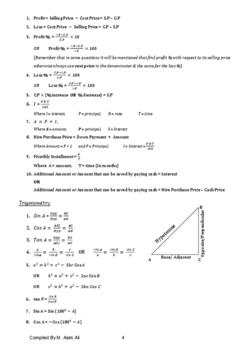 O Level Maths Formulas