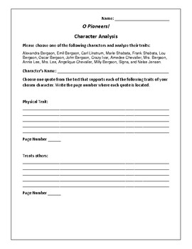 O Pioneers! Character Analysis Activity - Willa Cather