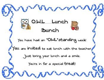 OWL Lunch bunch invitation