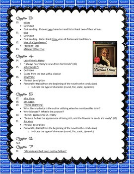 O. Wilde's The Picture of Dorian Gray (Quizlet Card Activity)