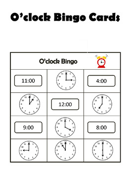 O'clock Bingo - Telling Time to the Hour