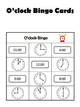 O'clock Bingo - Telling Time to the Hour