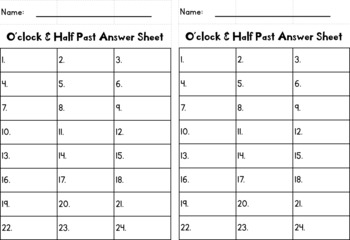 O'clock & Half Past Task Cards