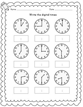 O'clock and half past time worksheets