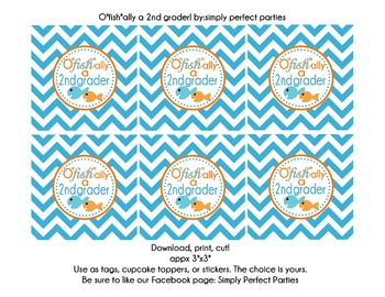 O'fishally a 2nd grader goody bag tags party stickers report card promotion