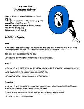 O is for Orca - Vocabulary Word Work