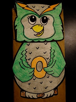 O is for Owl paper bag puppet
