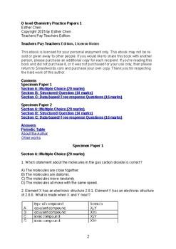 O level Chemistry Paper 1 Assessment