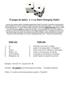 O to UE Stem-Changing Boot Verb Dice Game