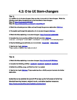 O to UE Stem-Changing Verbs Internet Activities