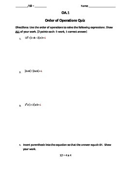 Order of Operations 5.OA.1