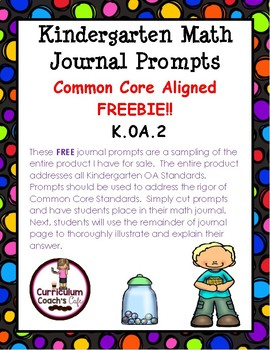 OA.2 Common Core Aligned Kindergarten Math Journal Prompts:  FREE