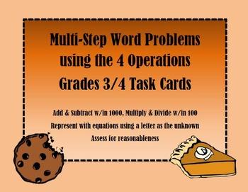 Multi-Step Word Problem Task Cards Baking Theme