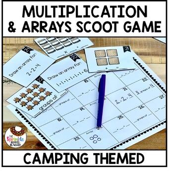 OA.C.4 Pine Cones, Bug Spray, Arrays... Hooray! Scoot Game