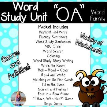 OA Long O Word Study & Word Work:  Activities and Printables!