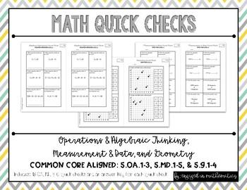 OA, MD, & Geometry Quick Checks (5th Grade Common Core Aligned Assessments)