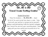 OA, OE and OW Vowel Team Center and Recording Sheet