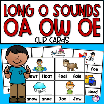 OA, OW, OE Long Vowel Clip Cards