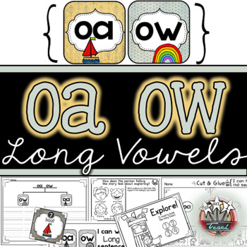 Long O Vowel Pairs OA OW: Word Work, Independent Work, Games, Centers