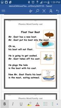 OA Vowel Team Word Family Phonics Short Story