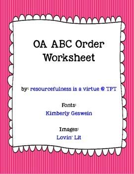 OA Words -- ABC Order Worksheet
