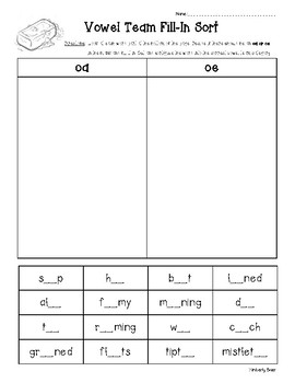 OA and OE Vowel Team Fill-In Sort