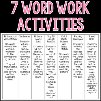 OA and OW Word Work Actvities