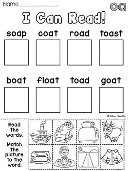 Oa Ow Worksheets And Activities No Prep Long O Vowel Teams Worksheets Pairs
