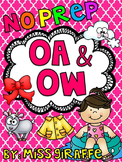 OA OW Worksheets and Activities {NO PREP!} Long O Vowel Teams Worksheets (Pairs)