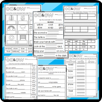 OA and OW Worksheets: Cut and Paste Sorts, Cloze, Writing, and More
