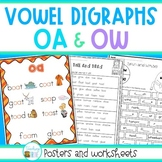 OA and OW vowel digraphs posters and worksheets