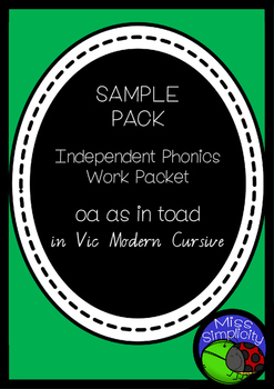 OA as in BOAT 2 page sampler INDEPENDENT phonics work books  VIC MOD CURSIVE
