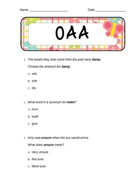 OAA Sample Questions