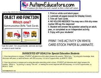 """OBJECT and FUNCTION (""""Which one?"""") Task Cards - TASK BOX FILLER Set#1"""