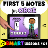 OBOE First Five Notes BOOM CARDS™ Beginner Band Music Dist